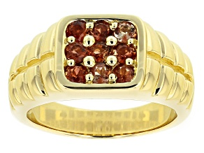 Brown Andalusite 10k Yellow Gold Mens 9-Stone Ring .92ctw