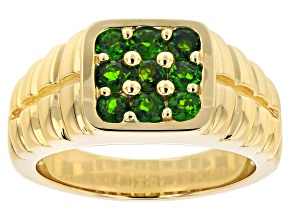 Green Russian Chrome Diopside 10k Yellow Gold Mens 9-Stone Ring .99ctw