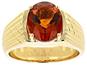 Orange Madeira Citrine 10k Yellow Gold Mens Ring 3.95ct