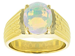 Multi Color Ethiopian Opal 10k Yellow Gold Mens Ring 2.29ct