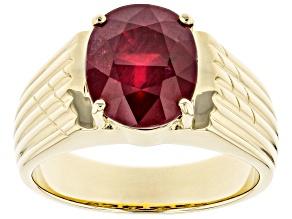 Red Mahaleo® Ruby 10k Yellow Gold Men's Ring 5.95ct