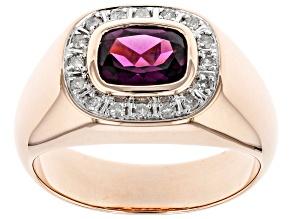 Grape Color Garnet 10k Rose Gold Men's Ring 2.52ctw
