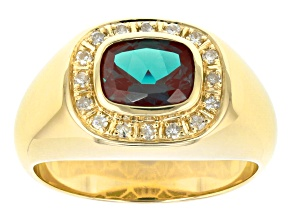 Teal Lab Created Alexandrite 10k Yellow Gold Mens Ring 2.44ctw