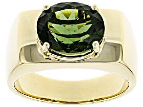 Green Moldavite 10k Yellow Gold Men's Ring 3.03ct