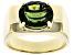 Green Moldavite 10k Yellow Gold Men's Ring 3.03ct