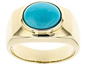 Blue Cabochon Sleeping Beauty Turquoise 10k Yellow Gold Mens Ring 12x10mm