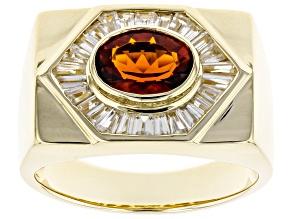 Orange Madeira Citrine 10k Yellow Gold Mens Ring 2.76ctw