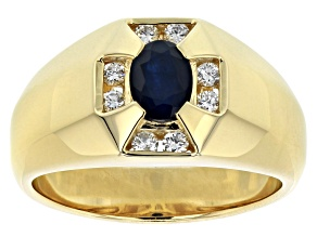 Blue Sapphire 10k Yellow Gold Mens Ring 1.09ctw