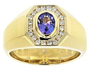 Blue Tanzanite 10k Yellow Gold Mens Ring .93ctw