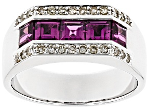 Grape Color Garnet Rhodium Over 10k White Gold Men's Ring