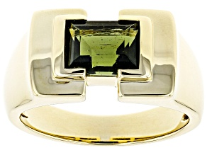 Green Moldavite 10k Yellow Gold Men's Ring 1.83ct