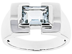 Blue Aquamarine Rhodium Over 10k White Gold Men's Ring 1.78ct