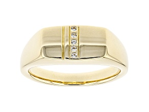 White Zircon 10k Yellow Gold Men's Ring .03ctw