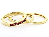 Red Garnet 10k Yellow Gold Mens Stackable 3-Ring Set .59ctw