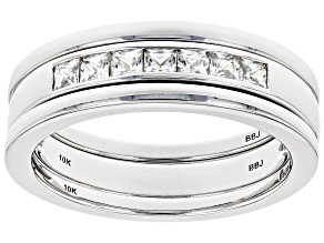 White Zircon Rhodium Over 10k White Gold Men's Stackable 3-Ring Set .89ctw