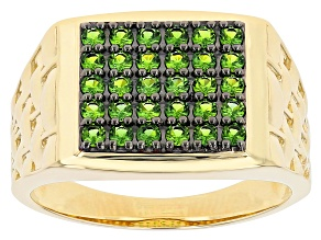 Round Chrome Diopside 10k Yellow Gold Men's Ring 0.92ctw