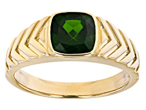 Green Cushion Chrome Diopside 10k Yellow Gold Men's Ring 1.92ct