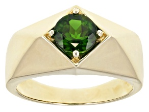 Green Chrome Diopside 10k Yellow Gold Men's Ring 1.42ct