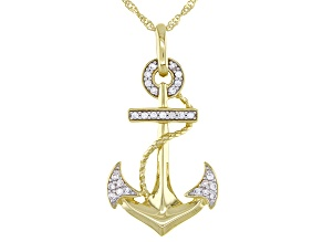 White Zircon 10k Yellow Gold Men's Anchor Pendant With Chain .16ctw