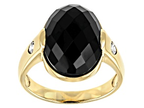 Black Spinel With White Zircon 10k Yellow Gold Mens Ring 8.59ctw