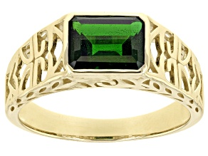 Green Chrome Diopside 10k Yellow Gold Men's Ring 2.00ct