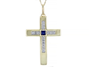 Blue Lab Created Sapphire 10k Yellow Gold Mens Cross Pendant With Chain 1.04ctw