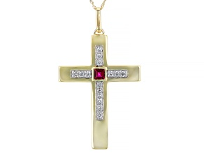 Red Lab Created Ruby 10k Yellow Gold Mens Cross Pendant With Chain 1.02ctw