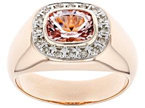 Pink Morganite 10k Rose Gold Men's Ring 1.73ctw