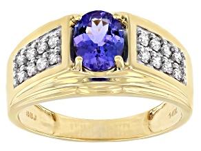 Blue Tanzanite 14k Yellow Gold Men's Ring 1.45ctw