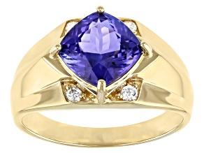 Blue Tanzanite 14k Yellow Gold Men's Ring 3.24ctw
