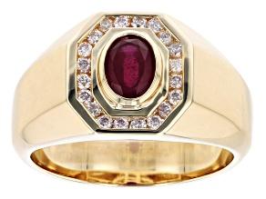 Red Mahaleo(R) Ruby 10K Yellow Gold Men's Ring. 1.10ctw