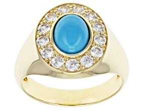 Blue Sleeping Beauty Turquoise 10k Yellow Gold Men's Ring 1.04ctw