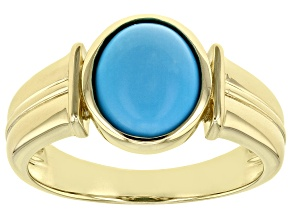 Blue Sleeping Beauty Turquoise 10k Yellow Gold Men's Ring 11x9mm