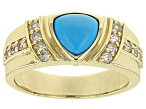 Blue Sleeping Beauty Turquoise 10k Yellow Gold Men's Ring 8mm
