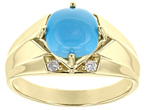 Blue Sleeping Beauty Turquoise With White Diamond 10k Yellow Gold Men's Ring
