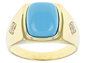 Blue Sleeping Beauty Turquoise 10k Yellow Gold Men's Ring 0.13ctw