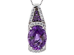 Purple Amethyst Sterling Silver Pendant With Chain 8.48ctw