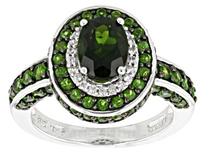 Green Chrome Diopside And White Zircon Sterling Silver Ring 2.84ctw