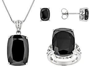 Black Spinel Sterling Silver Ring Pendant With Chain And Earrings Set 44.39ctw