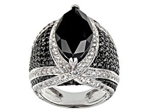Black Spinel Sterling Silver Ring 9.53ctw