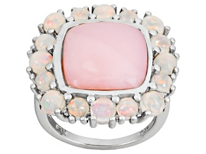 Pink Opal And Ethiopian Opal Sterling Silver Ring 1.49ctw