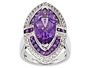 Orchid Brazilian Amethyst And White Topaz Sterling Silver Ring 7.24ctw
