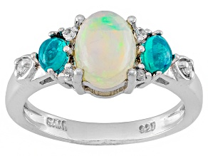 Multi Color Ethiopial Opal Sterling Silver Ring 1.16ctw