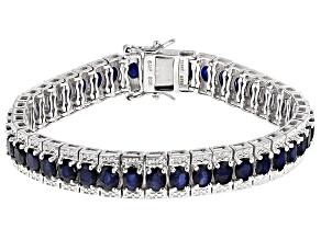 Blue Sapphire Sterling Silver Bracelet 15.13ctw