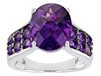 Picture of Purple African Amethyst Rhodium Over Sterling Silver Ring 4.98ctw