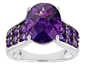 Purple African Amethyst Rhodium Over Sterling Silver Ring 4.98ctw