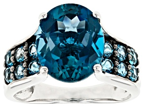 Blue topaz rhodium over sterling silver ring 6.04ctw
