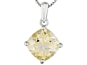 Yellow Labradorite Rhodium Over Sterling Silver Pendant With Chain 4.35ct