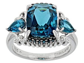 London Blue Topaz Sterling Silver Ring 5.88ctw