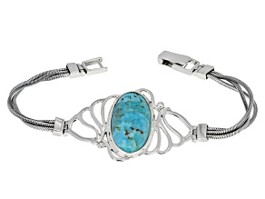 Blue Turquoise Sterling Silver Solitaire Bracelet